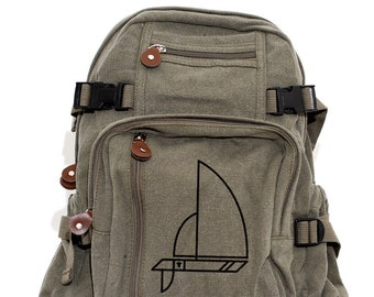 Backpack, Canvas Backpack, Adventure Backpack, Travel Bag, Camera Bag, Small Backpack, Backpack Men, Backpack Women, Sailboat, Custom