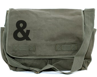 Ampersand Messenger Bag, & Laptop Bag, Crossbody Bag, Large Canvas Bag, Hip Diaper Bag, Gift for Women, Weekender Bag, Work Bag, School Bag