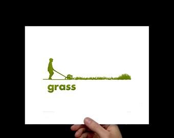 Art Print Grass, Letterpress, Print, Poster Art, Wall Art, Typography Print, Pop Art, Dorm Room Art, Living Room, Modern Art, Office, Green