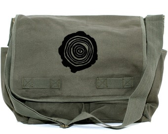 Messenger Bag: Tree Rings - Large Canvas Bag - Woodworking Tool Bag - Messenger Bag Men
