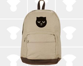 Sleepy Watson the Cat - Leather Bottom Laptop Backpack
