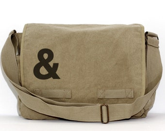 Messenger Bag, Ampersand, Laptop Messenger Bag, Crossbody Large Canvas Bag, Men's Messenger Bag, Women's Messenger Bag, Work Bag, & Symbol