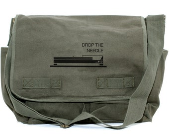DJ Gifts Messenger Bag, Musician Gift, Drop the Needle, Crossbody Canvas Bag, Men's Laptop Messenger Bag, Large Travel Bag, Mens Gift