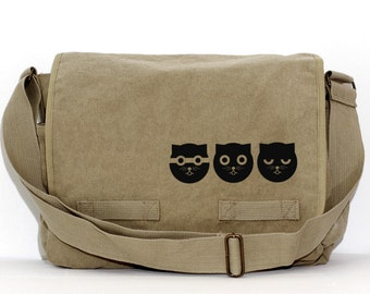 Kawaii Cat Messenger Bag, Watson the Cat, Crossbody Large Canvas Bag, Women Laptop Messenger Bag, Gift Cat Lover, Cute Diaper Bag