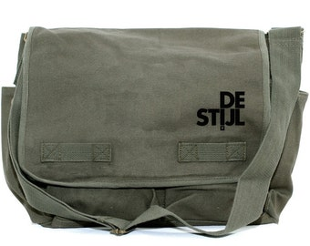 Messenger Bag - De Stijl - Olive Green Large Pocket Messenger
