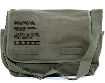 Messenger Bag, Film v. Bullet, Crossbody Bag, Large Canvas Bag, Laptop Bag, Men's Messenger Bag, Women's Messenger Bag, Camera Bag, Quote