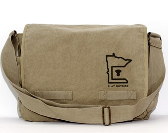 Messenger Bag   Minnesota   Crossbody Large Canvas Bag   Laptop Bag   Mens Canvas Messenger Bag   Travel Bag   Large Camera Bag   MN Gift