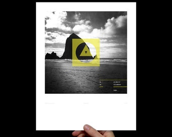 Art Print Goonies, Screenprint, Print, Poster, Living Room, Office, Haystack Rock, Nursery Art, Kids Room, Exploration, Oregon Coast, Yellow