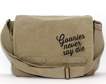 Messenger Bag | GOONIES never say die | Gift for Men | Camera Bag | Canvas | Crossbody Bag | Travel | Hipster | Large | 80s | Gift for Women