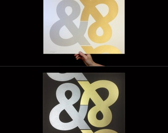 Ampersand Art Print, Screenprint, Print, Office, Modern Home Decor, Wall Art, Typographic Print, Metallic, Gold, Silver, Typography Print,