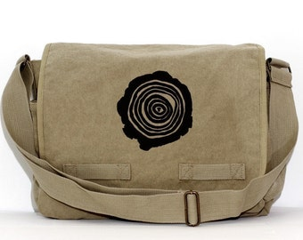 Laptop Messenger Bag, Men's Canvas Messenger Bag, Tree Rings, Crossbody Large Bag, Mens Gift, Women's Gift, Diaper Bag, Hiking Gifts