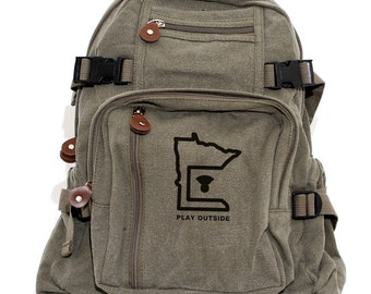 Minnesota Play Outside - Lightweight Canvas Backpack
