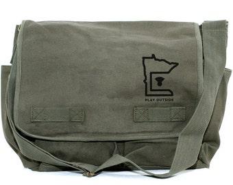 Messenger Bag, MINNESOTA, Canvas Crossbody Bag, Laptop Bag, Large Mens Canvas Messenger Bag, Travel Bag, Camera Bag, Minnesota Gifts