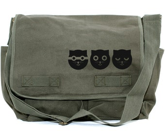 Messenger Bag, Three Musketeers Watson the Cat, Crossbody Large Canvas Bag, Cute Bag, Laptop Messenger Bag, Women's Messenger Bag, Cat Bag