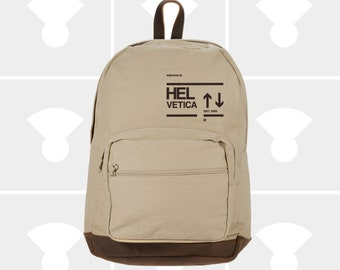 Helvetica - Leather Bottom Laptop Backpack