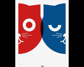 Dueling Watson the Cat, Art Print, Screenprint, Cat Art, Print, Poster, Nursery Art, Pop Art, Wall Art, Kids Room, Living Room, Red & Blue