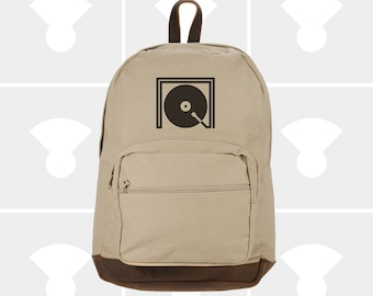 Listen Round - Leather Bottom Laptop Backpack