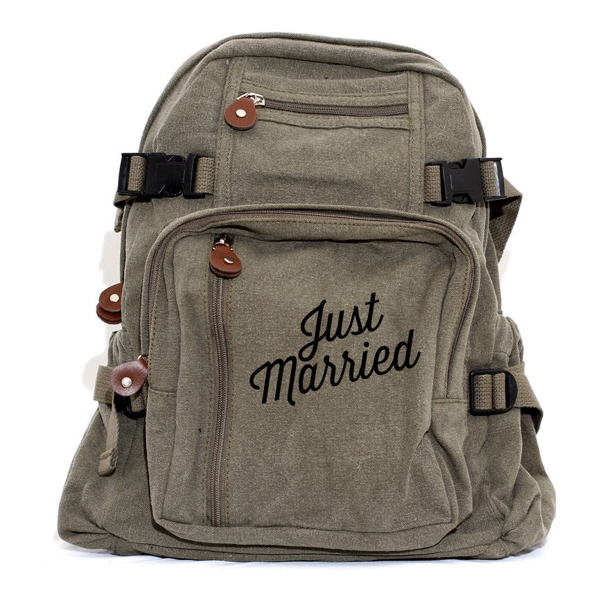 Backpack Just Married Canvas Backpack Bride Gift Honeymoon