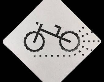 Mountain / Dirt / Fat Tire Bike - Letterpress Coaster Set