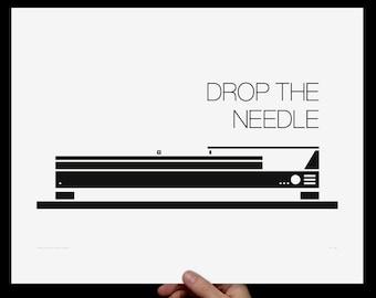 Print: Drop the Needle - Screenprint - Turntable Illustration