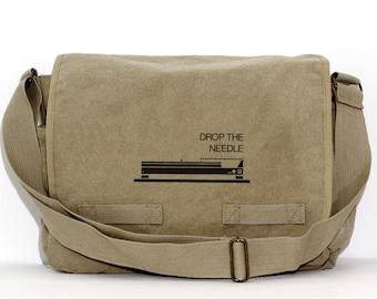 DJ Gifts Messenger Bag, Musician Gift, Drop the Needle, Crossbody Canvas Bag, Men's Laptop Messenger Bag, Large Travel Bag, Mens Gift