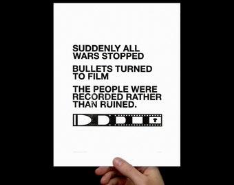 Art Print Film v. Bullet, Letterpress, Print, Poster, Typography Art, Office, Living Room, Inspirational Quote Art, Photography, Black