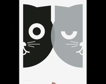Dueling Watson the Cat, Art Print, Screenprint, Cat Art, Print, Poster, Nursery Art, Cat Pop Art, Kid Room Art, Living Room Art, Bedroom Art