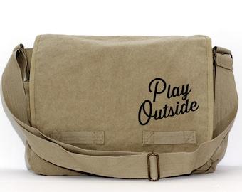 Messenger Bag   Play OUTSIDE   Gift for Men   Camera Bag   Canvas   Crossbody Bag   Travel   Hipster   Large   Typography   Gift for Women