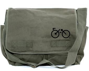 Messenger Bag | BIKE | Gift for Men | Camera Bag | Crossbody Bag | Canvas Bag | Travel | Large | Biking Gift | Gift for Women | Gift for Dad