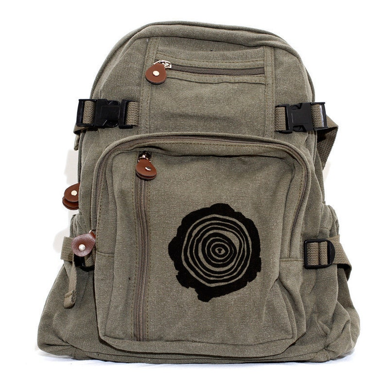 Backpack Canvas Backpack Hiking Backpack Adventure Small Tree Rings