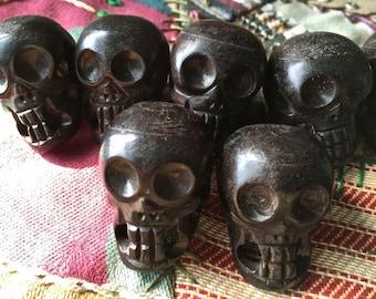 25mmx38mm Large Dark Brown Bone Skull Bead/Pendant