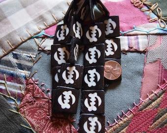 Smaller Ox Bone Adinkra Gye Nyame Batik Beads White on Ebony Strand of 10 Beads