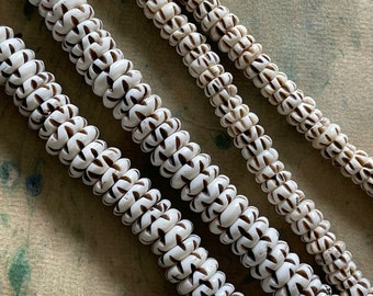 White Bone Rondelle BEADS Handcarved ZIGZAG Strand with Dark Brown Markings in Choice of 12mm or 8mm Size