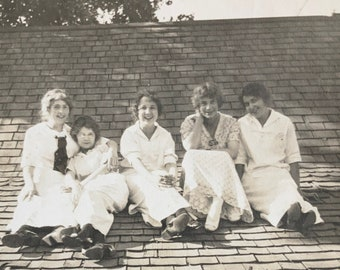Ladies on the Roof - Found Photograph, Original Vintage Photo, Photograph, Old photo, Photography
