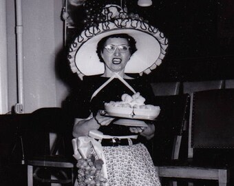 The Hat Lady - Found Photograph - Original Photograph, Vintage Photo,  Photography, Snapshot, Portrait, Old photo