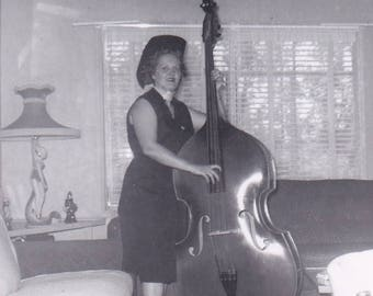Gertie and her Giant Cello - Found Photograph - Original Photograph, Vintage Photo,  Photography, Snapshot, Portrait, Old photo