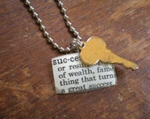 Fabulous Vintage Glass Watch Crystal Pendant - Key to Success