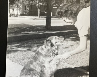 Shaking Hands with the Dog - Found Photograph, Original Vintage Photo, Photograph, Old photo, Photography
