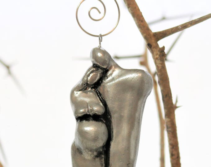 Silver Christmas Ornaments of a Expecting Couple Personalized Pregnant Christmas Ornament
