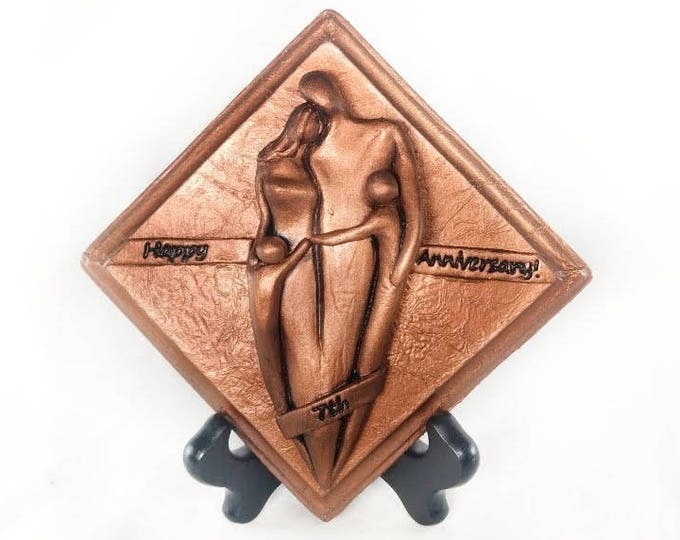 Happy 7th Anniversary Copper Plaque,Anniversary Gift, Seventh Wedding Anniversary Gift for Him and Her