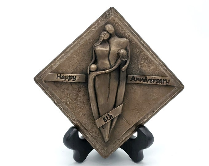 Ready-to-Ship! Happy 8th Anniversary Bronze Plaque,Anniversary Gift, Eighth Wedding Anniversary Gift for Him and Her