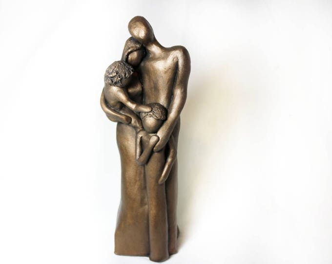 Bronze Family Sculpture, 8th Anniversary Family Portrait, Bronze Anniversary Gift, Gift for Her, Gift for Him, 8 Year Anniversary Gift