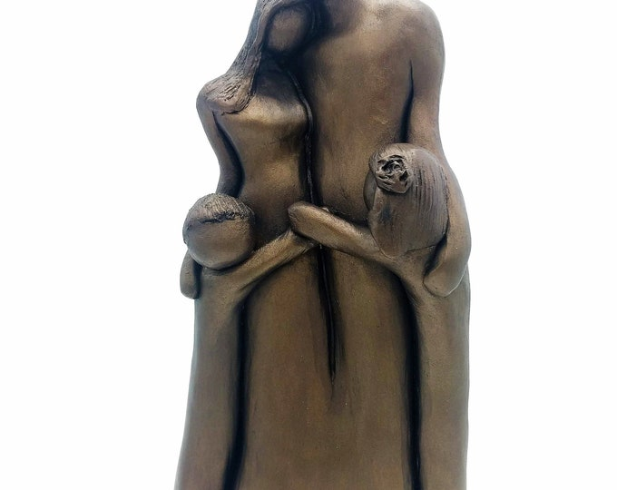 8th Anniversary Family of Four Portrait, Bronze Anniversary Gift, Gift for Her, Gift for Him, 8 Year Anniversary Gift, Cold-Cast Bronze 9FO4