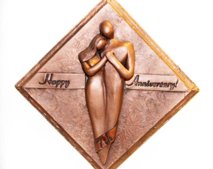 Happy Anniversary Copper Plaque, 7 Year Anniversary Gift, 7th Anniversary Gift for Him, Anniversary Gift for Her, Gift for Husband and Wife