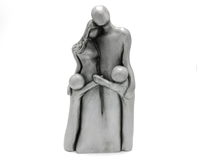 10 Year Anniversary Aluminum Sculpture, 10th Anniversary Family Portrait, Anniversary Gift for Men, Gift for Her, 10 Years Gift for Husband