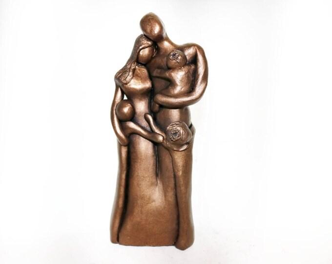 8th Anniversary Family Portrait, Bronze Anniversary Gift, Gift for Her for Him, 8 Year Anniversary Gift, Cold-Cast Bronze Family Portrait