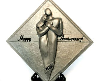 Happy 10 Year Anniversary Gift Aluminum Plaque, 10th Tenth Anniversary Gift for Men, 10 Anniversary Gift for Him,  Gift for Her
