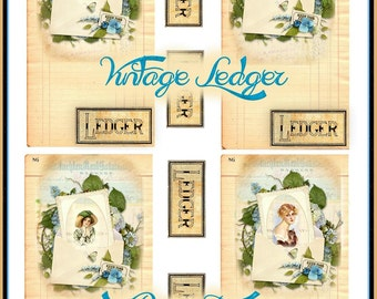 Vintage Ledger Collage Tags with Decoupage INSTANT DOWNLOAD Digital Lovely Ladies Printable