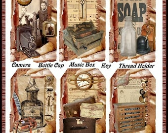 Antique Store Grungy Ephemera Tags - Digital Printable - INSTANT DOWNLOAD