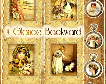 A BACKWARD GLANCE Digital Printable Mini Book / Junk Journal Kit - Instant Download - 8 Background Papers, 40 Pages, 64 Embellishments